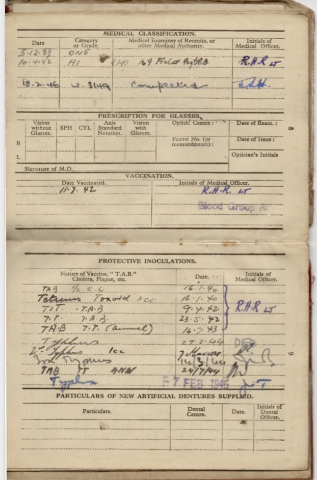 Kitchener camp, Willi Reissner, Army Book 64, Soldier's Service Pay Book, Pioneer Corps, Richborough, Medical classifcation, Vaccination, Inoculations, pages 15 and 16