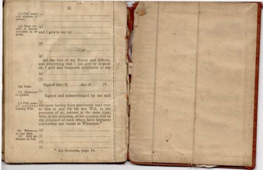 Kitchener camp, Willi Reissner, Army Book 64, Soldier's Service Pay Book, Pioneer Corps, Richborough, Will pages 25 and 26