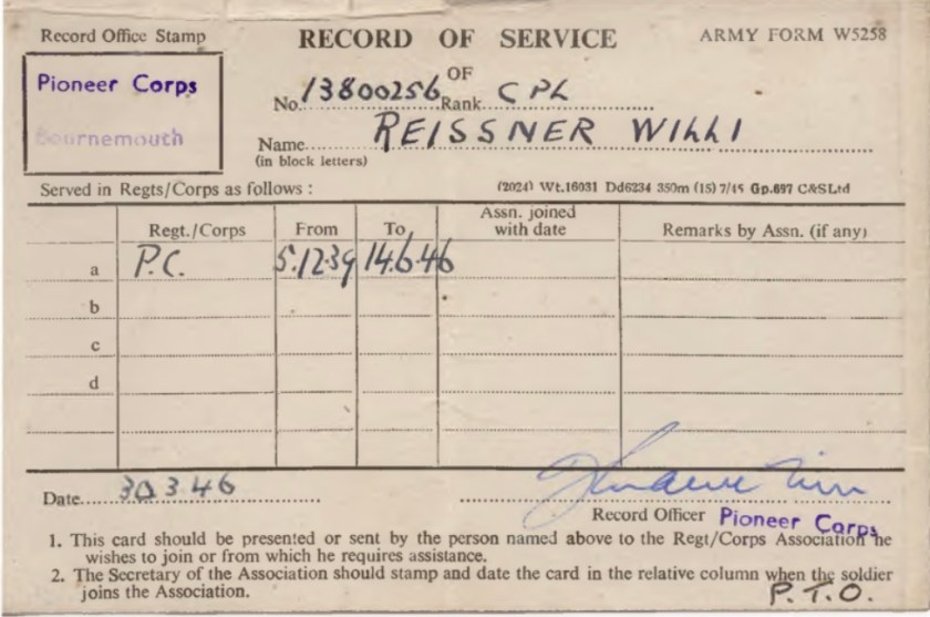 Kitchener camp, Willi Reissner, Record of Service, Pioneer Corps, Bournemouth, 5 December 1939 to 14 June 1946, page 1