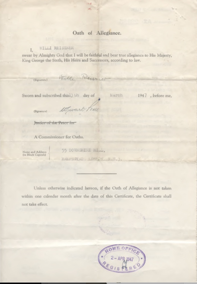 Kitchener camp, Willi Reissner, Oath of Allegiance, 13th March 1947