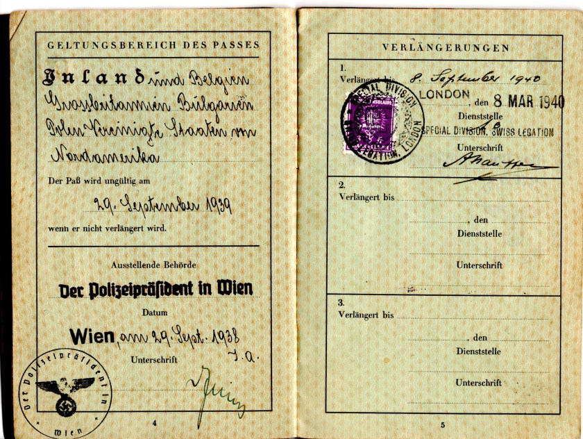 Kitchener camp, Robert Mildwurm, Deutsches Reisepass, German passport, Special Division, Swiss legation 8 March 1940