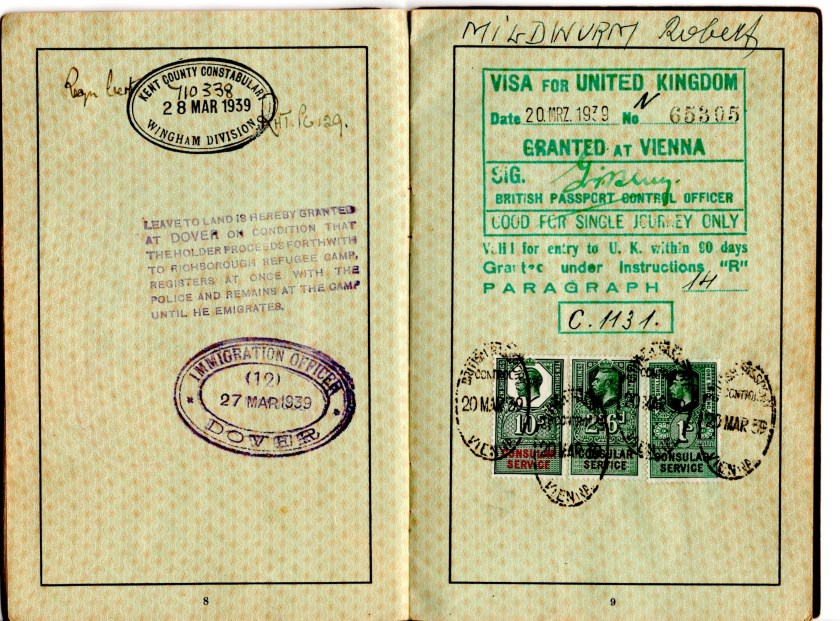 "Kitchener camp, Robert Mildwurm, Deutsches Reisepass, German passport, Dover Immigration office, 27 March 1939, Kent County police, 28 March 1939, UK Visa, 20 March 1939, Granted at Vienna, ""Good for single journey only"","