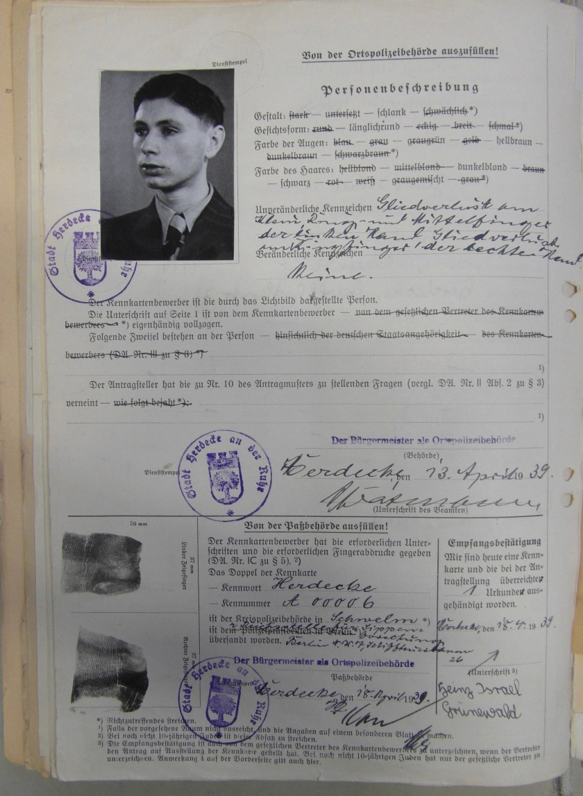 Kitchener camp, Heinz Grünewald, Antrag, Kennkarte, 13 April 1939, page 2