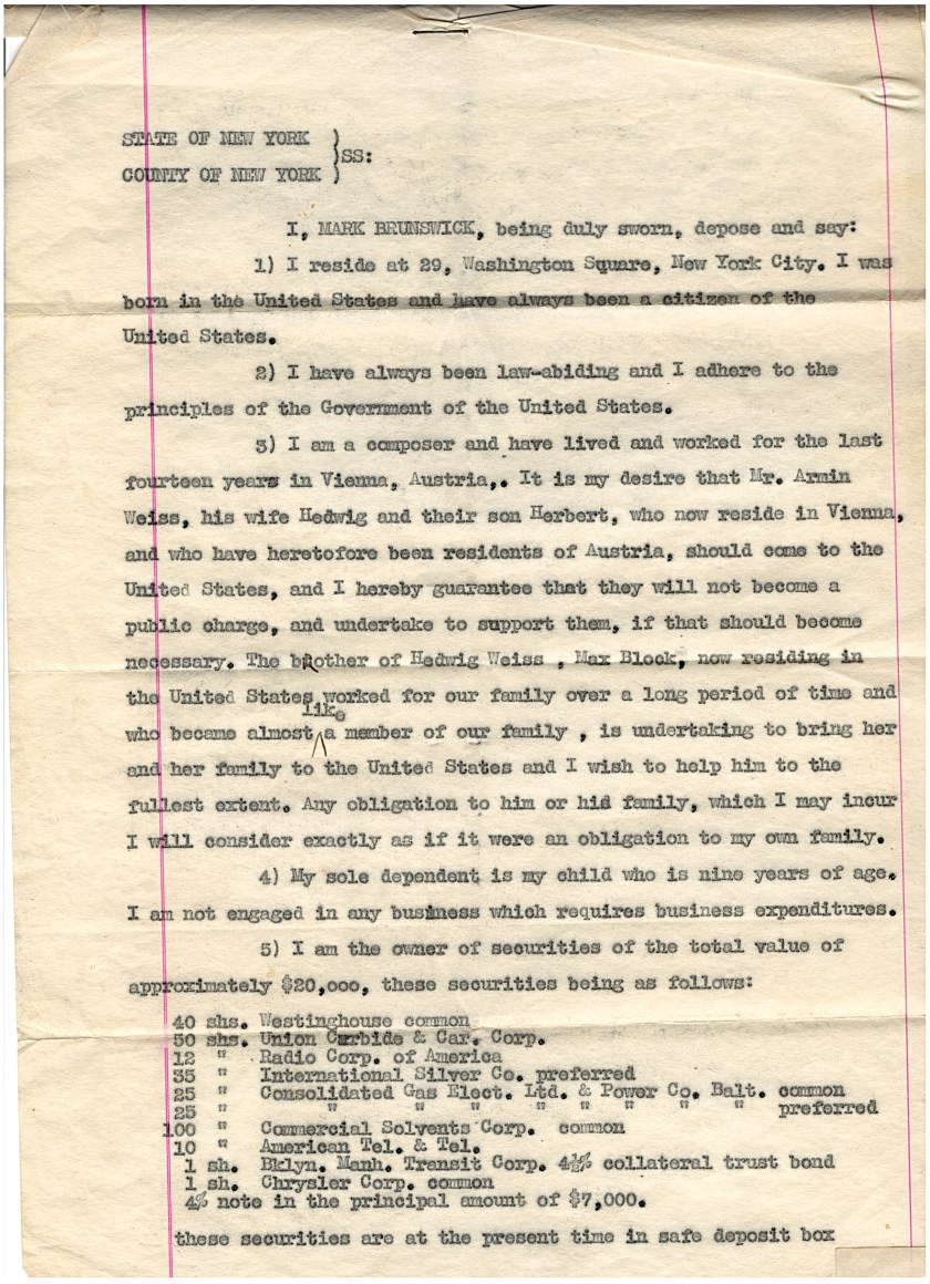 Kitchener camp, Herbert Weiss, Mark Brunswick, Letter of support, Guarantor, 16 August 1938, page 1