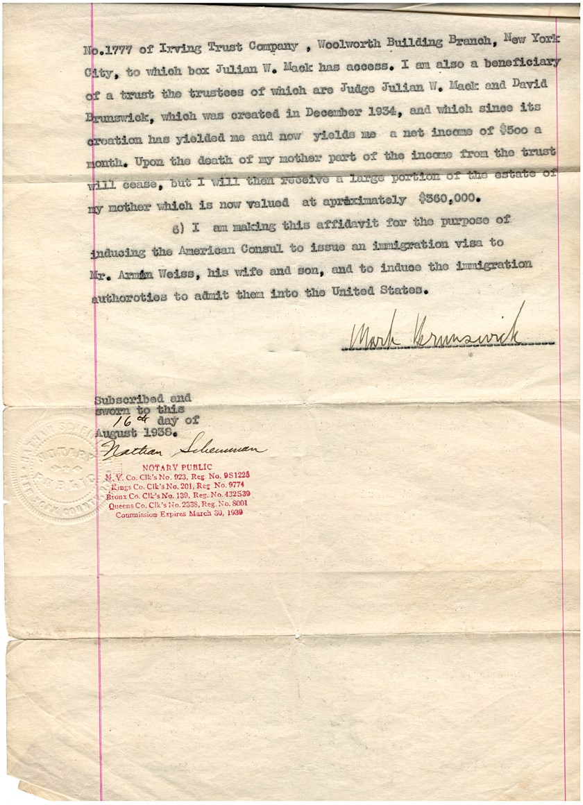 Kitchener camp, Richborough, Herbert Weiss, Mark Brunswick, Letter of support, Guarantor, 16 August 1938, page 2