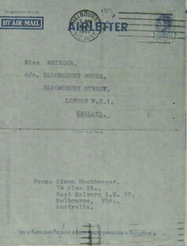 Kitchener camp, Simon Hochberger, Envelope, Metzger, Bloomsbury House, 1947