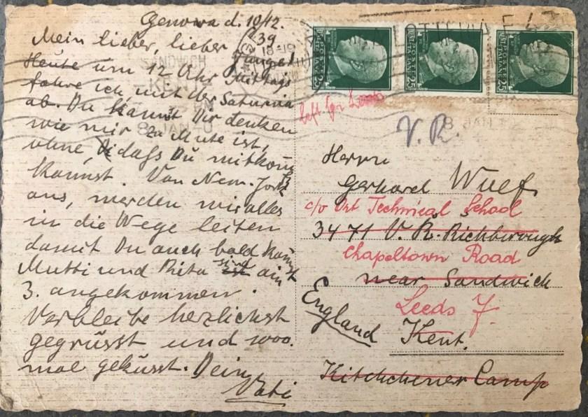 Kitchener camp, Berlin ORT, Gerhardt Wolf, Postcard, ORT Technical School, Leeds, 8 January 1940