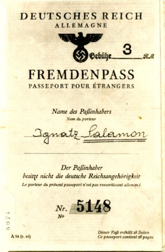 Kitchener camp, Ignatz Salamon, Fremdenpass, Deutsches Reich, Allemagne, No. 5148, 29 April 1939