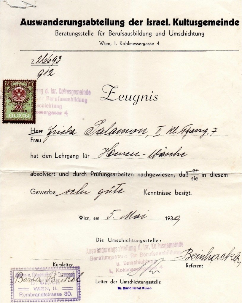 Kitchener camp, Ignatz Salamon, Wife, Frieda Salamon, Certificate, IKG, 5th May 1939