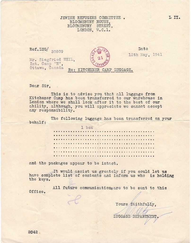Richborough transmigration camp, Leopold Weil, Letter, Jewish Refugees Committee, Bloomsbury House, Internment Camp N, Canada, Luggge, 12 May 1941