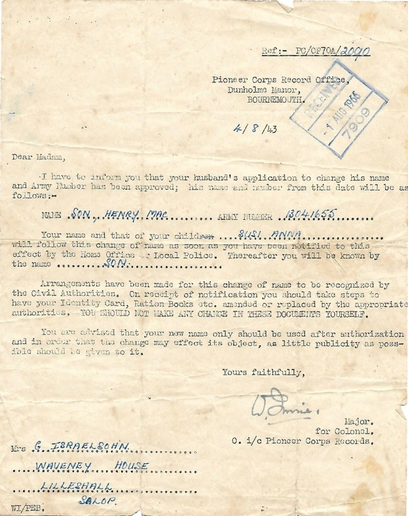 Max Israelsohn, Pioneer Corps Record Office, Name change, 3 August 1943