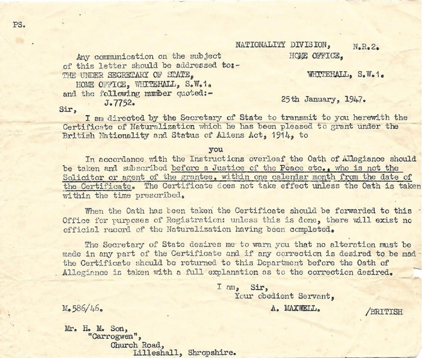 Kitchener camp, Max Israelsohn, Letter, Nationality Division, Home Office, 25 January 1947
