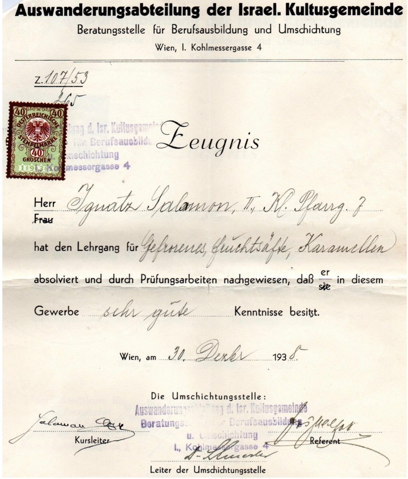 Kitchener camp, Ignatz Salamon, Certificate, IIsraelitische Kultusgemeinde Wien (IKG), Documents required for leaving Austria, 30 December 1938