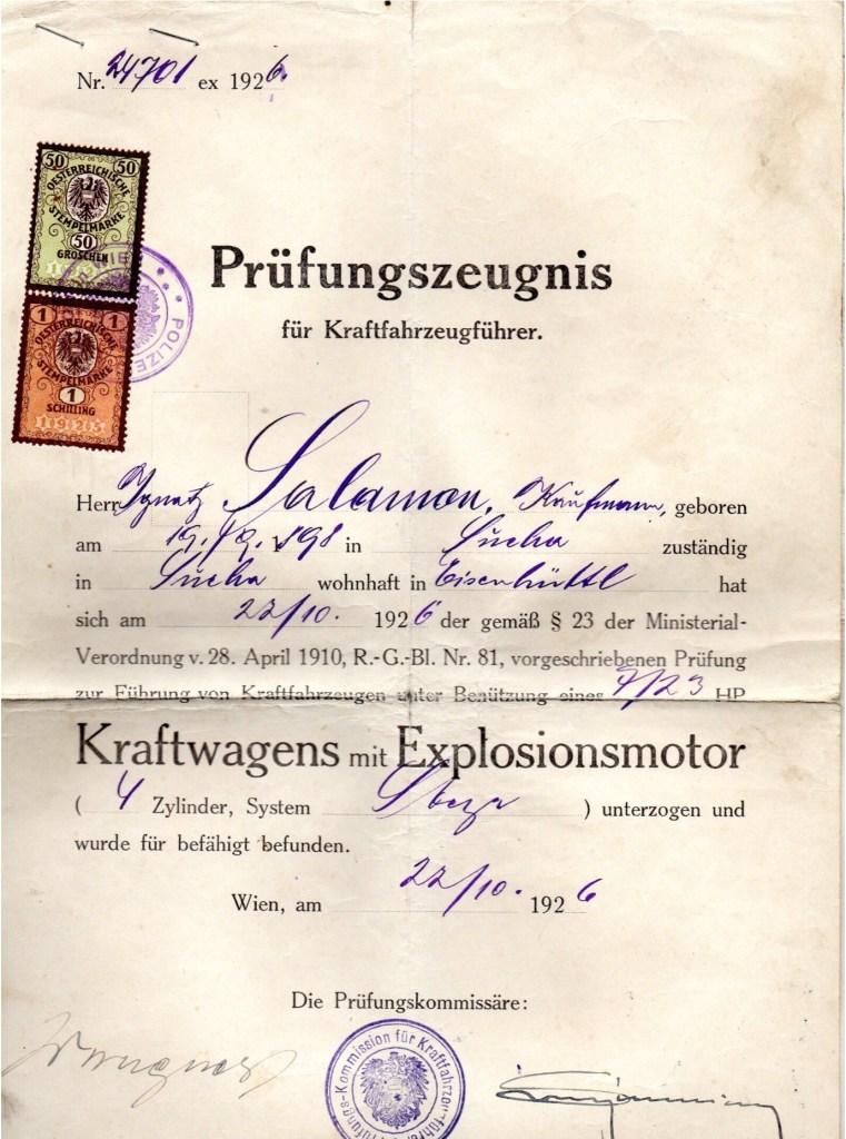 Kitchener camp, Ignatz Salamon, Audit certificate, 22 October 1926, Stamped in Sandwich on 24 September 1939
