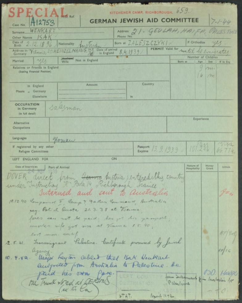 Kitchener camp, Richborough transit camp, Isak Wenkart, German Jewish Aid Committeee forms, page 1