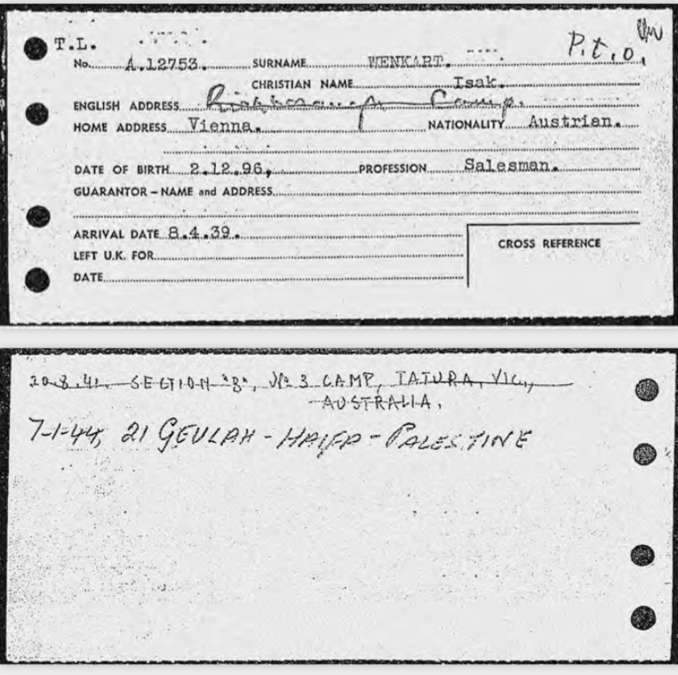 Kitchener camp, Isak Wenkart, Entry to Britain record card