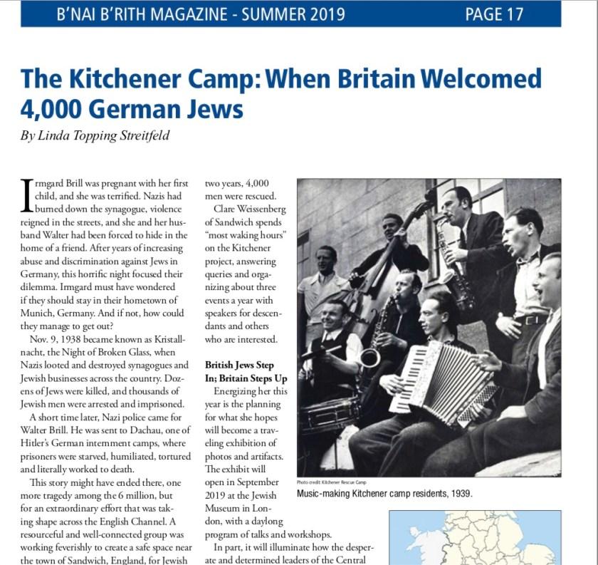 Kitchener camp, B'nai B'rith article by Linda Topping Streitfeld