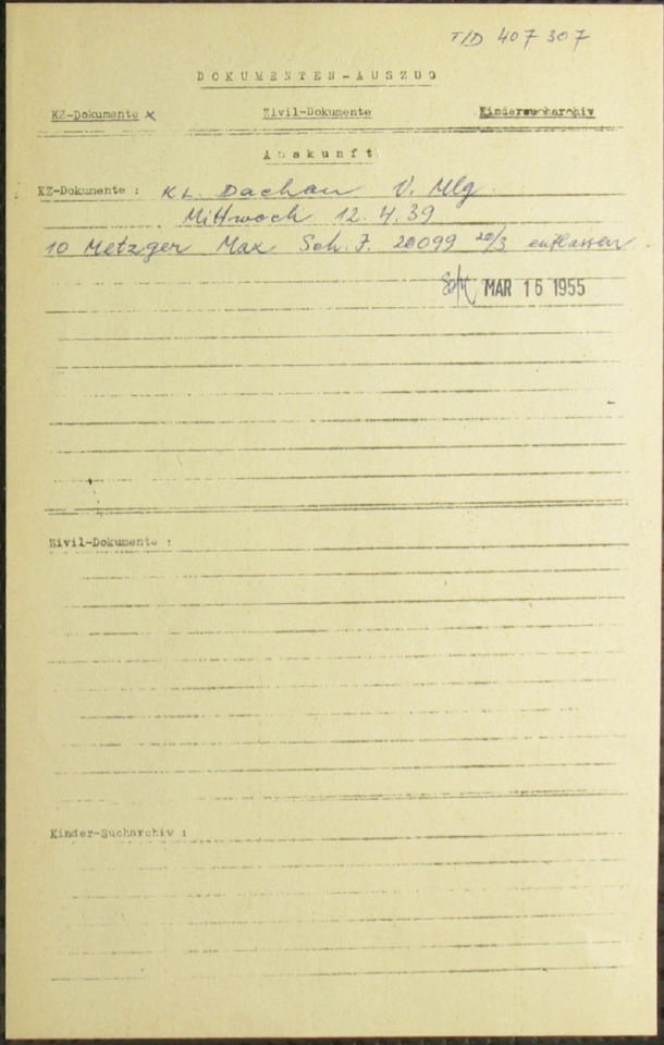 Kitchener camp, Richborough, Max Metzger, KL Dachau, Released 12 April 1939, ITS Documents from the Wiener Library