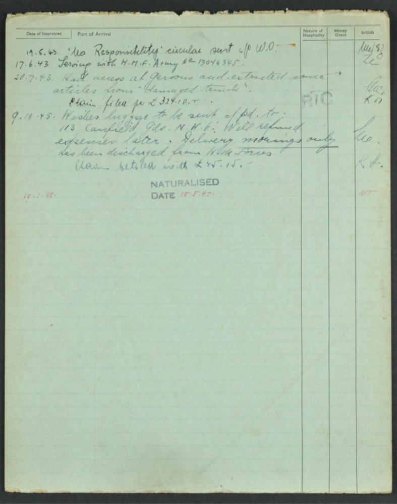 Kitchener camp, Karl Timan, German Jewish Aid Committee, Camp number 3080, Army service, missing luggage, naturalised