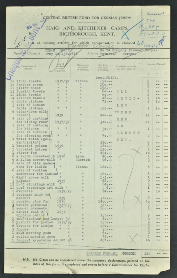 Kitchener camp, Karl Timan, German Jewish Aid Committee, Central British Fund for German Jewry, Haig and Kitchener camps, Kent, Compensation claim