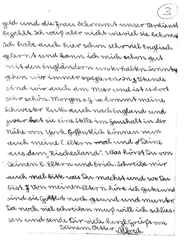 Kitchener camp, Alfred Meyer, Letter, 7th May 1939, page 3