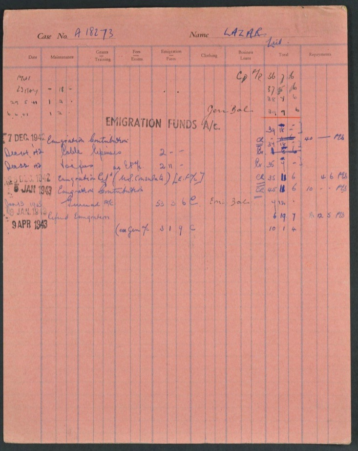 Kitchener camp, Lieb Lazar, German Jewish Aid Committee pink expenses form, 1940s, page 1