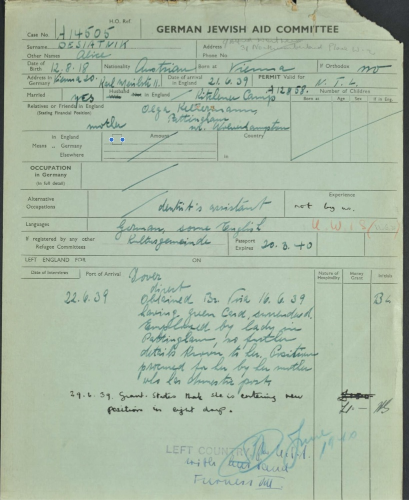 Kitchener camp, Ernst Desiatnik, Alice Desiatnik - wife, German Jewish Aid green form