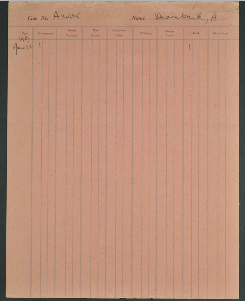 Kitchener camp, Ernst Desiatnik, Alice Desiatnik - wife, German Jewish Aid pink expenses form