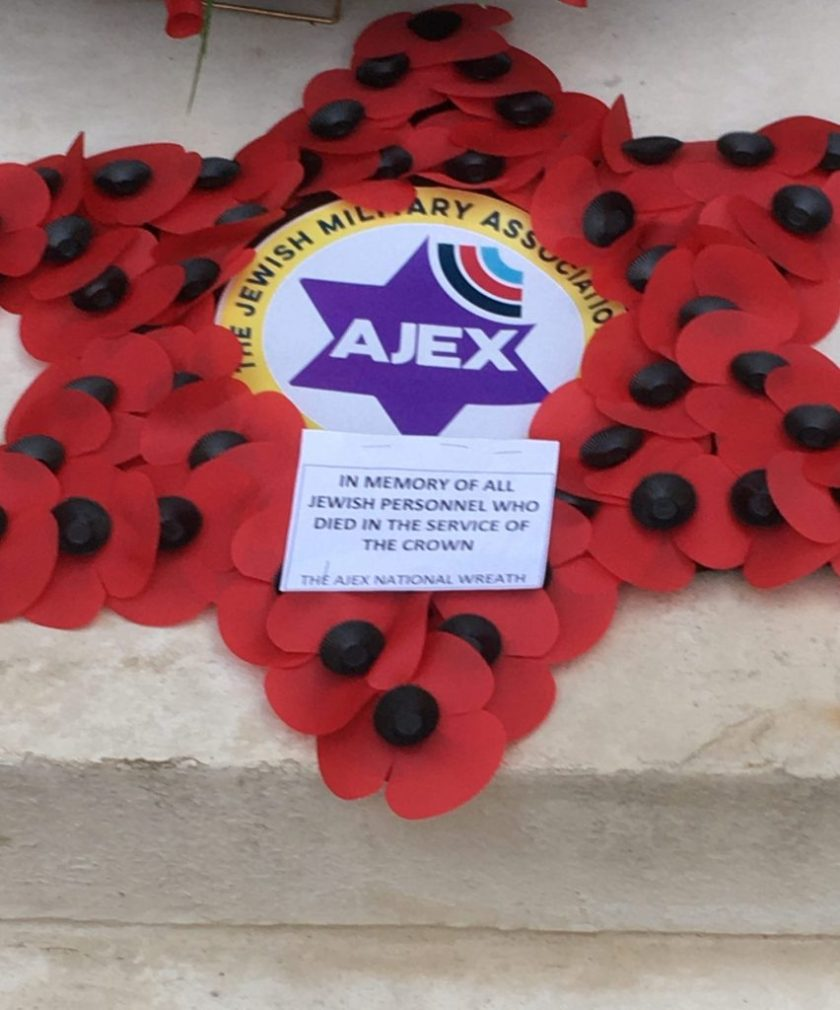 AJEX commemoration, 17 November 2019 The wreath for all Jewish personnel who died in the service of the crown