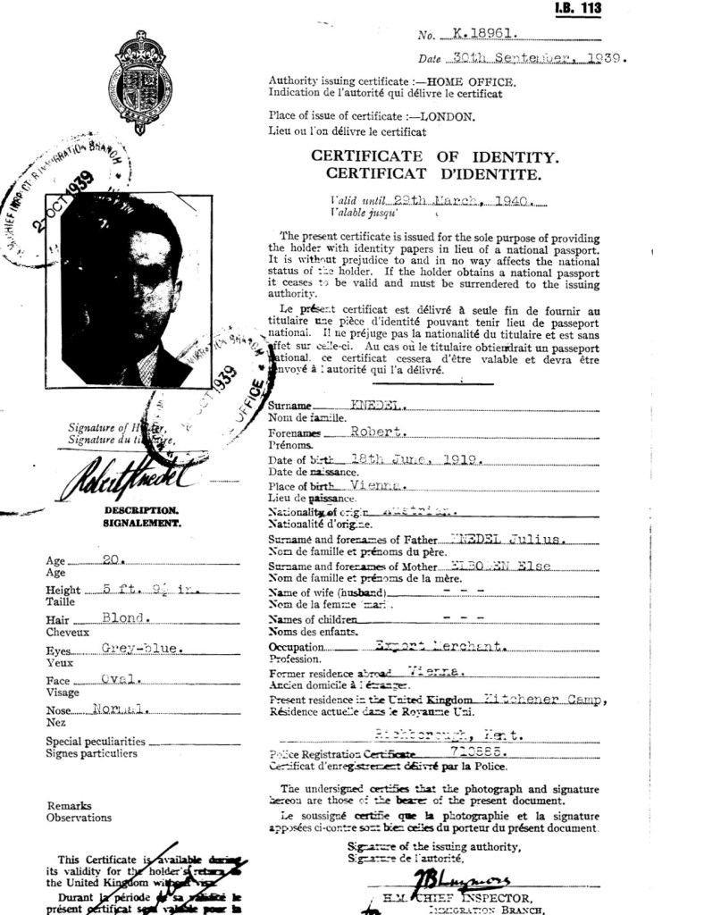 Kitchener camp, Robert Knedel, Home office Certificate of Identity, 30th September 1939
