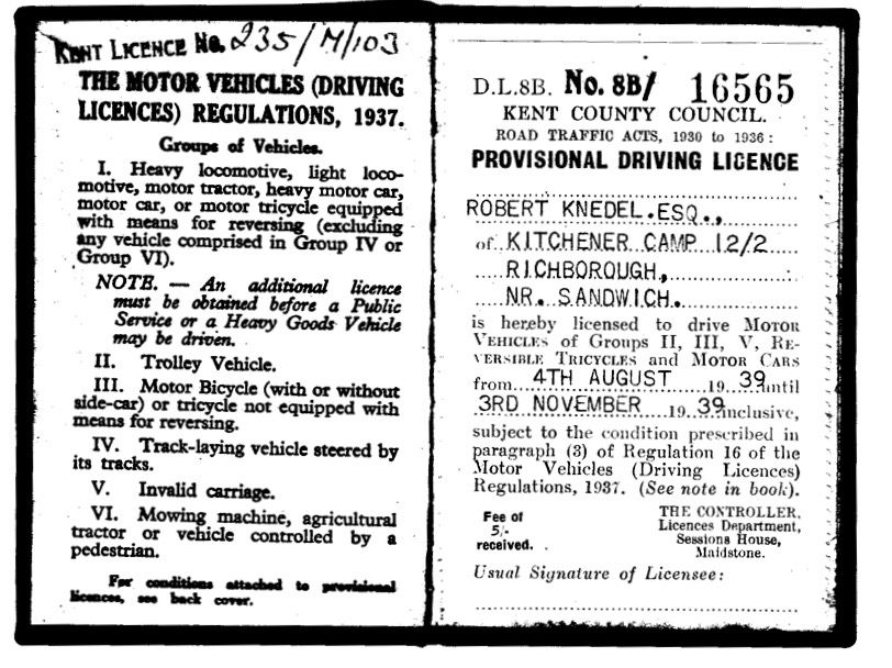 Kitchener camp, Robert Knedel, Driving Licence, 4th August 1939 to 3 November 1939