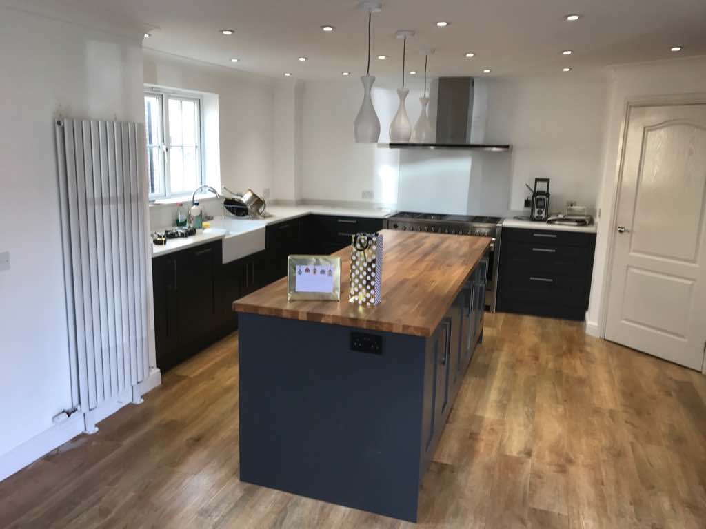shaker style kitchen small glass top table fitted in lower stondon hertfordshire graphite