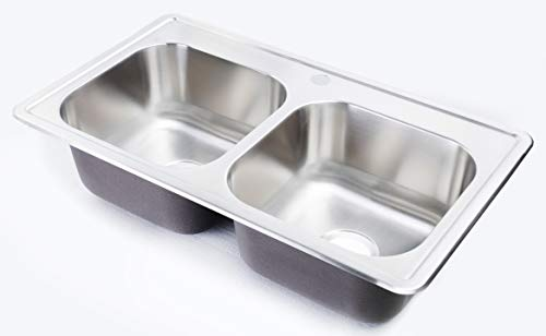 zuhne 33x19 kitchen sink drop in for mobile homes stainless steel deep double bowl