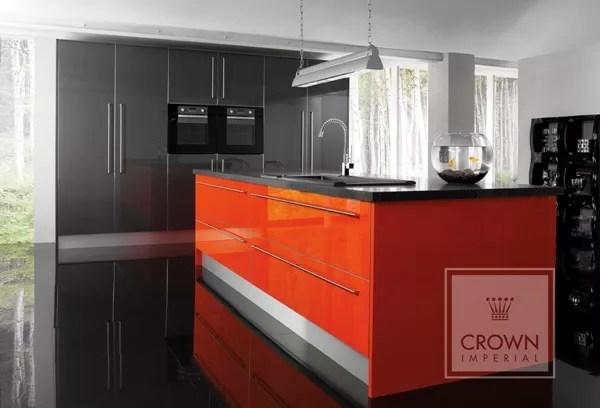 Orange Metallic Dark Grey Gloss Kitchen