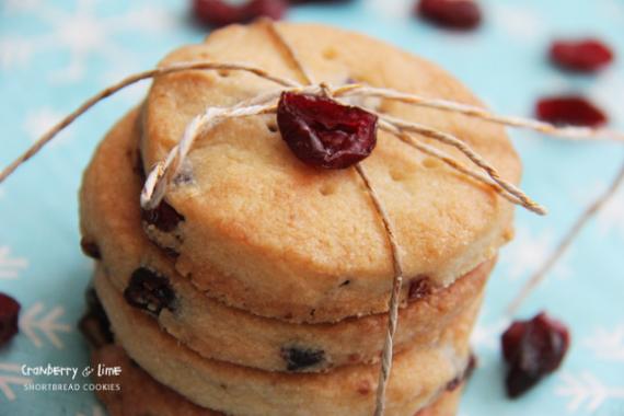 cranberry lime shortbread cookies