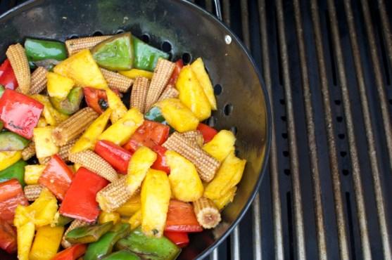 grilled vegetable stir-fry, bbq, grill wok