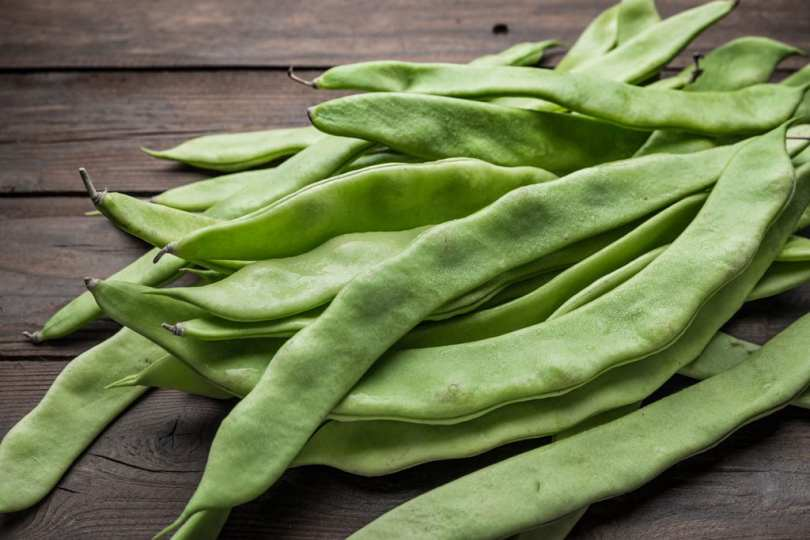A bunch of harvested Runner Beans.