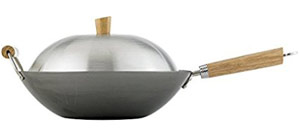 Helen Chen's Asian Kitchen 14-inch Carbon Steel Flat Bottom Lidded Wok Stir Fry Pan Set