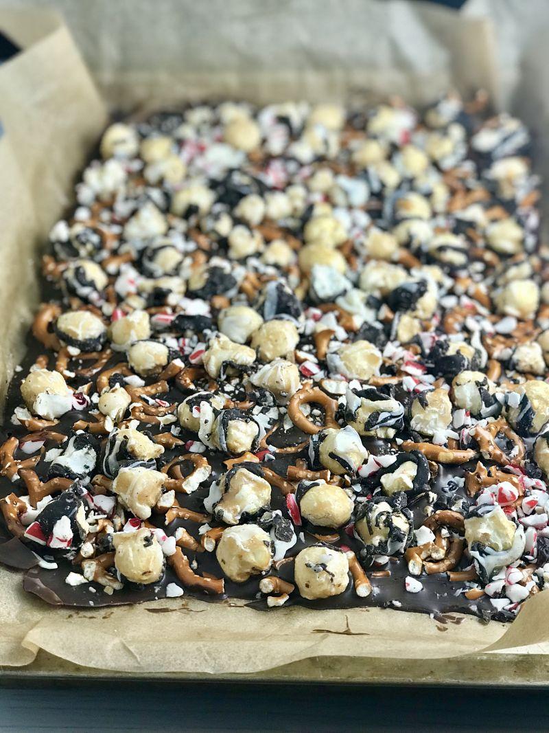 dark chocolate peppermint popcorn bark
