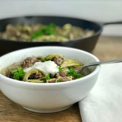 Paleo Gluten-Free Zucchini Noodle Stroganoff