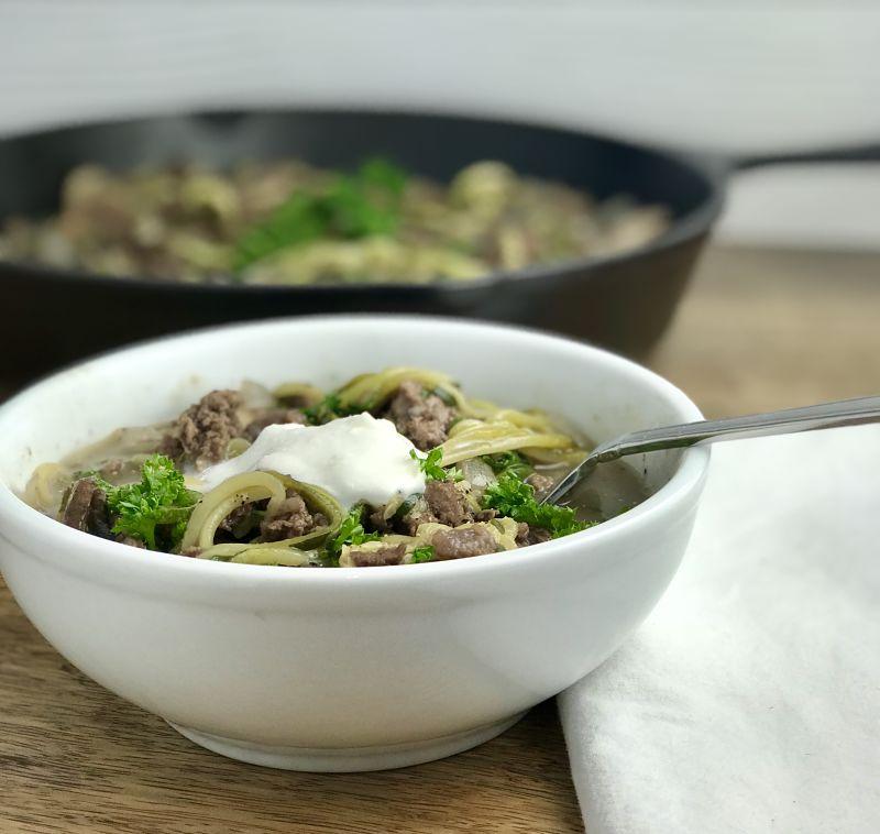 paleo gluten free zucchini noodle stroganoff