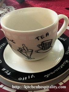 Black and white teacup