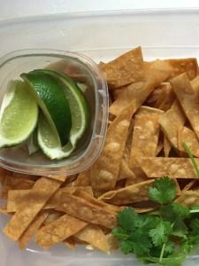 Homemade tortilla soup chips
