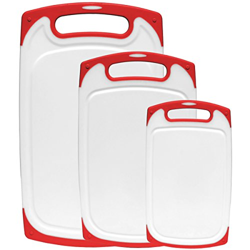Dutis 3-Piece Dishwasher Safe Plastic Cutting Board Set with Non-Slip Feet and Drip Juice Groove White with Red