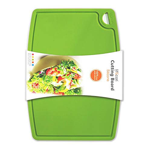 Liflicon Thick Silicone Cutting Board 126 x 91 BPA Free Juice Grooves Easy Grip Handle Non-Porous Dishwasher Safe-Green