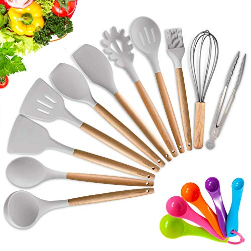 KINFAYV Silicone Cooking Utensil Kitchen Utensil Set16 PCS Acacia Wooden Cooking Tool Spoons Spatula Turner Tongs Measuring Spoon Nonstick Nontoxic BPA Free Heat Resistant Kitchen Tools Light Grey