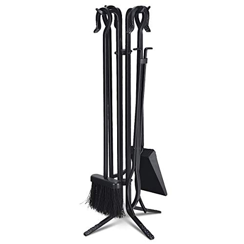 Tangkula 5 Pieces Fireplace Tools Wrought Iron Toolset 4 Tools Decor Holder Indoor Outdoor TongPoker Base ShovelBrush Fireplaces Hearth Accessories