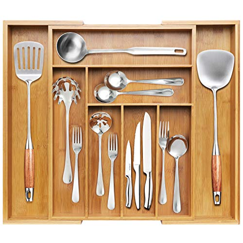 BAYKA Kitchen Drawer Organizer Bamboo Expandable Silverware Organizer Adjustable Desk Drawer Divider Large Utensil Cutlery Tools Stationary Silverware Tray - 8 Compartments