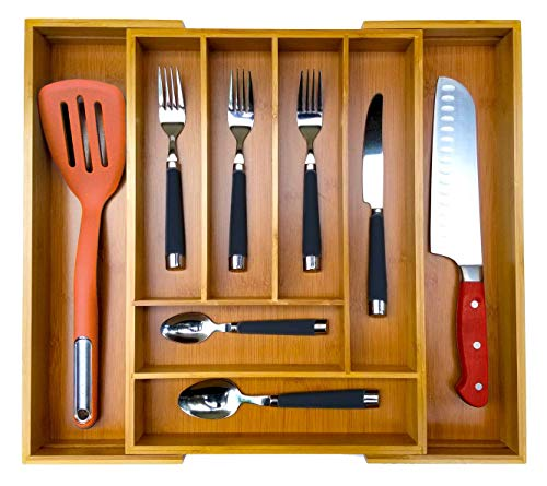 Bamboo Expandable Utensil Drawer Organizer with 1-Year Warranty by Amazing Essentials - Large 6-8 Compartments for Kitchen Silverware Cutlery Utensils Makeup Tools Accessories
