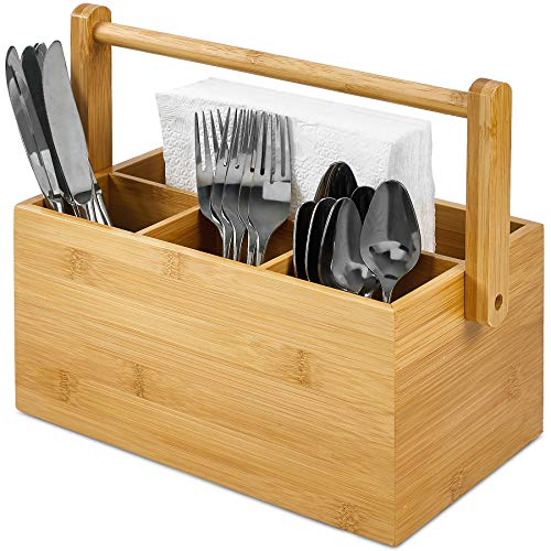 Bamboo Storage Caddy Organizer with Handle - 4 Compartment Flatware Cutlery Utensils and Napkin Holder - Portable for Outdoor and Indoor Use